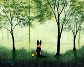 German Shepherd Dog LARGE Folk Art Print by Todd Young SPRING FOREST