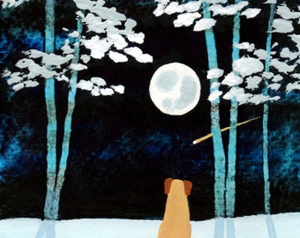 Yellow Lab Dog Folk Art PRINT Todd Young painting SNOWY TREES
