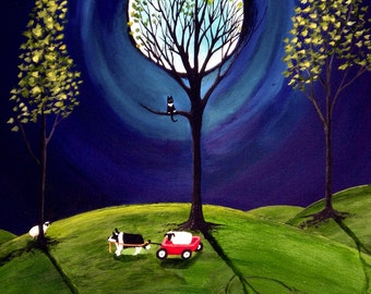 Border Collie Dog Folk Art Print by Todd Young A HELPING HAND