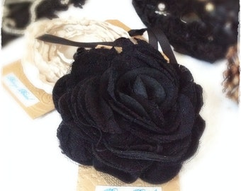 Black Felt and Lace Rose Corsage