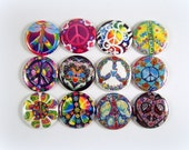 """1"""" Inch Hippie Peace Signs Flatback Buttons, Pins, Magnets 12 Ct."""