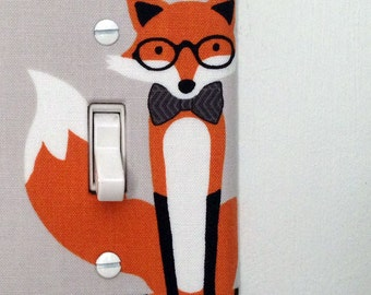 Light Switch Plate Cover, wall decor - gray with fancy fox