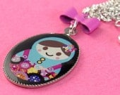 Matryoshka Flowers Necklace - Kawaii Nesting Doll Pendant with Bow - Fuchsia Pink and Black