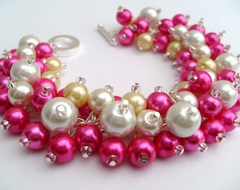 Bridesmaid Jewelry, Hot Pink Lemon Ivory White Pearl Beaded Bracelet, Cluster Bracelet, Pearl Bracelet, Bridesmaid Gift, Jewelry  Kim Smith