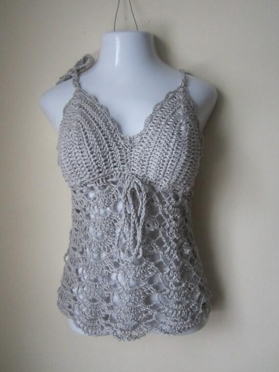 Crochet Halter Top : Crochet halter top, camisole, crochet tunic, halter tunic, halter top ...