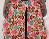 Unique Fitted Carseat canopy  Pink Monkey with pink Dimple Dot Minky.