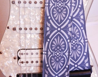 blue and silver medallion hipster guitar strap