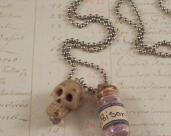 Poison Bottle and Skull Charm Necklace - Skull Necklace - Poison Bottle Necklace - Day of the Dead Jewelry -  Mixed Media Necklace