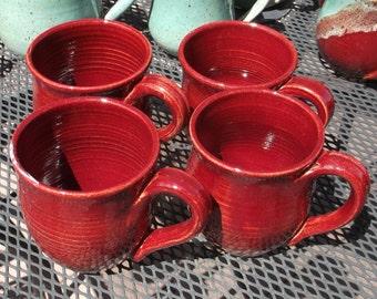 Christmas Gift for Red Lovers - Mug Set of Four - Handmade Pottery