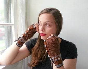 Brown Owl Wool Gauntlets. Womens Fingerless Gloves in Fair Isle Bird Pattern.