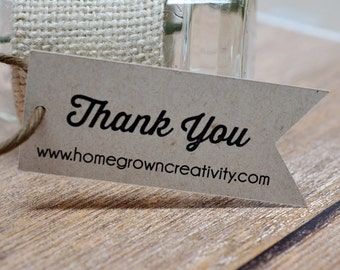 Customized Thank You Tags Gift Tags Flag Pennant Rustic Recycled