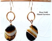 Sardonyx Earrings Black Banded Earrings Black and White Earrings Everyday Earrings Copper Earrings E2012-21