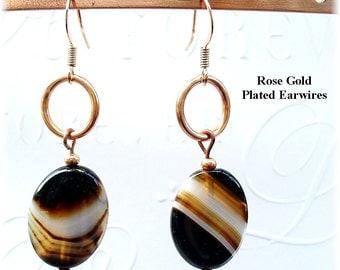Sardonyx Earrings - Copper Earrings - Black and White Earrings - E2012-21