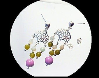 Chandelier Earrings  Orchid Mixed Stone Earrings Purple Post Earrings B2014-01