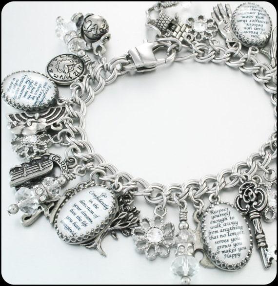 Inspirational Charm Bracelets: Silver Charm Bracelet Inspirational Quotes By