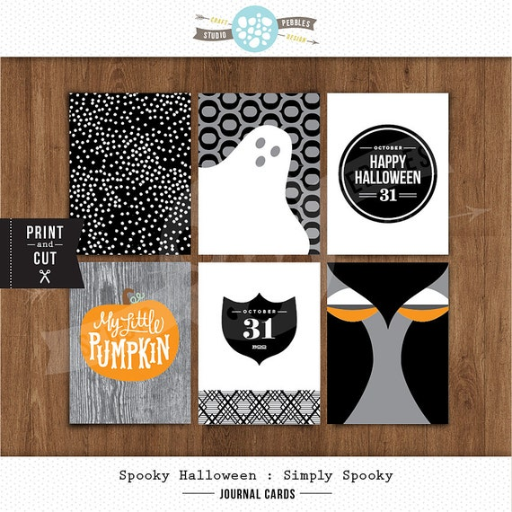 """3""""x 4"""" Printable Simply Spooky Journal Cards by Studio Pebbles"""