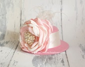 Summer Love - Pink Mini Top Hat with Handmade Couture Flower - RESERVED for JESSIE