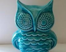 Owl Bank Home Decor Ceramic Bank  in Dark Aqua Nursery Decor