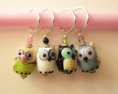 4 Glass Owl Stitch Markers - Crochet or Knit - You Choose