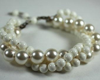 Ivory & Cream Bridal Bracelet, Matte Patton Finish, Twisted 3 strand wedding bracelet, off white, soft white, diamond white, vintage look