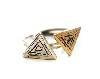 Carved Triangle Rings