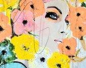 S'entrechoquent - mode, beauté, techniques mixtes peinture Art Print par Leigh Viner