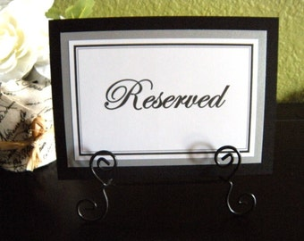 Two 5x7 Flat Wedding Reserved Table Paper Signs in Black and White and Metallic Silver  -READY TO SHIP