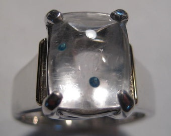 Paraiba Quartz ....... Sterling silver Ring with 14 kt Gold decorating wire   .....  size 7.5 ...........    e711