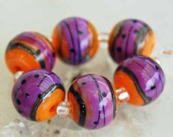 Lampwork Bead Set, 6 Pink Fire Spheres beads , by Beadfairy Lampwork