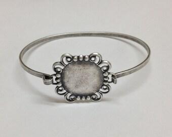 Bangle Bracelet Blank - Silver Ox Filigree Hinge Top Cuff Bangle Bracelet Blank Base with 18mm Round Setting