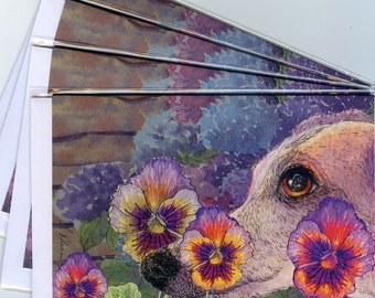 4 x greyhound whippet dog greeting cards - hiding in the garden