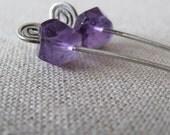 rough cut amethyst earrings