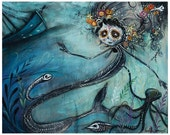 Mermaid and Shipwreck Diver 'The Heart Wants' - Day of the Dead - Sugar Skull - Pop Surrealism Print - by Heather Renaux-unframed
