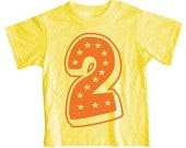 Kids Second Birthday T Shirt, Superstar Yellow 2nd Birthday