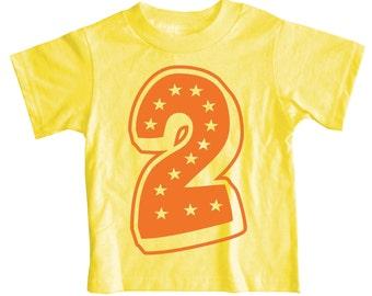 Kids Second Birthday T Shirt, Superstar Yellow 2nd Birthday