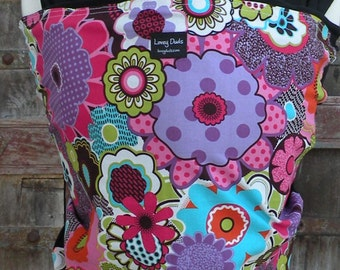 Baby Sling Wrap Carrier-ORGANIC Cotton Baby Wrap-Funky Flowers on Black-DvD One Size Fits All