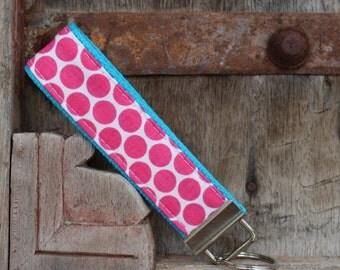 Wrist Key Chain--Wristlet--Key Chain--Hot Pink Dots on Turq