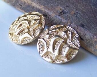 Vintage Earrings, Etsy VIntage, Textured Earrings, Gold Plated Disc Earrings, Patterned Earrings, Post Earrings, Etsy, Etsy Jewelry,