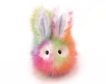 Easter Gift Stuffed Animal Cute Plush Toy Bunny Kawaii Plushie Prism the Rainbow Snuggly Cuddly Faux Fur Bunny Rabbit Medium 5x8 Inches