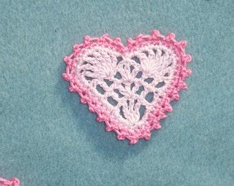 6 handmade pink cotton thread crochet applique hearts --  1835
