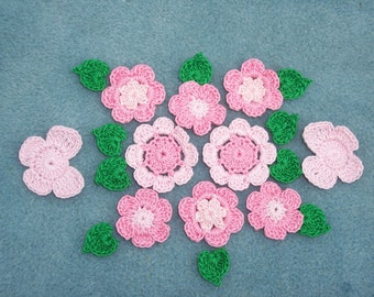 pink crochet butterflies and flowers with leaves --  83