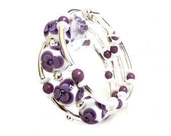 Wrap Memory Wire Bracelet, Purple Lampwork Glass, Handmade Jewelry,