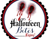 Halloween Stickers,Vampire Bite,  Vampire teeth, favor bag stickers, Treat  Stickers, party favor labels, set of 12