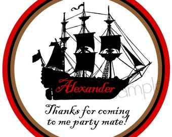 Pirate Ship Stickers,  Pirate Birthday Party, Pirate labels, favor labels, Birthday, Children,favor stickers, set of 12