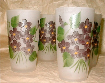 Gay Fad Violets Glasses Set of 4 - Vintage 50s Glassware Barware Pretties Frosted Glass and Hand Painted Bouquet