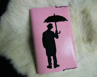 Small Leather Book Journal Umbrella Man Cover Soft Pink Color Small 4 x 6 Personalize for Free