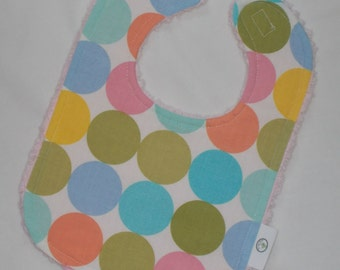 Pastel Disco Dot and Chenille Bib