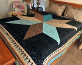 Modern Cowgirl / Cowboy Country Western Style Big Star CUSTOM Queen Size Quilt with Black. Aqua, Tan, Cowboy Boots Fabric Reversible