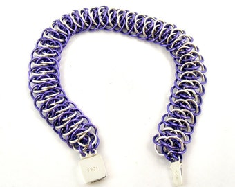 Purple Chainmaille Bracelet, Lavender Chainmail Jewelry, Lilac Chain Accessory