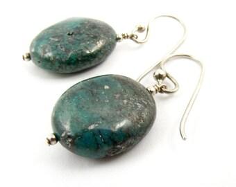 Green Earrings, Gemstone Earrings, African Turquoise Earrings, Jasper Earrings, Dangle Earrings